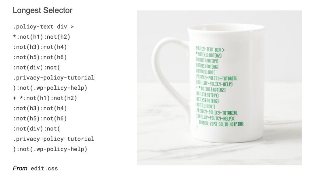 Longest CSS selector found in WordPress on a mug