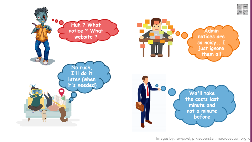 "Image showing four persona's: 1. The zombie thinking ""Huh, what notice ? what website ?"" 2. The overwhelmed person thinking ""Admin notices are so noisy, I just ignore them all"". 3. The laid-back person thinking ""No rush, I'll do it later (when it's needed)"". 4. The business person thinking ""We'll take the costs last minute and not a minute before""."