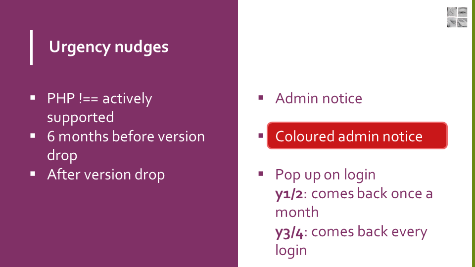 "Slide showing an ""Urgency nudges"" proposal: * For websites running on a PHP versions no longer actively supported, an admin notice will be shown. * As of six months before the planned drop of a PHP version, the admin notice on those sites would change colour to draw more attention to it. * After the PHP version drop, the proposal is to show a big pop-up on admin login for the first and second year after. The notice is dismissable but will come back once a month. * For the third and fourth year after support for the PHP version has been dropped, this pop-up will show every time an admin logs into the website."