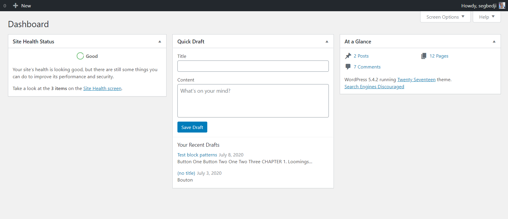 Before WordPress 5.5: There were no controls to move and reorder Dashboard widgets