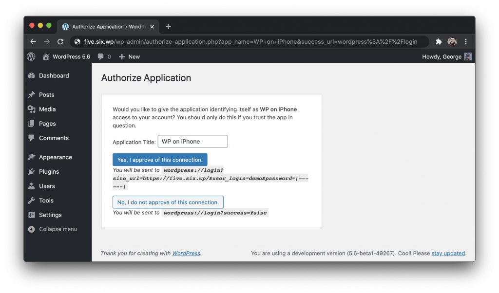 A screenshot of the new Authorize Application screen in the WP-Admin. A button is displayed to approve the connection, and one to reject the connection.