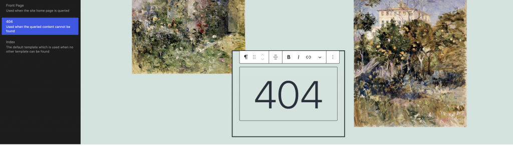 Editing the 404 template