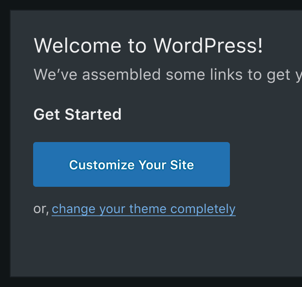 A dark mode design, with dark grey background, white and light grey text, and bright blue buttons.