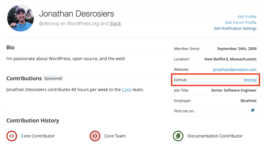 A screenshot of a WordPress.org profile with the GitHub field outlined.