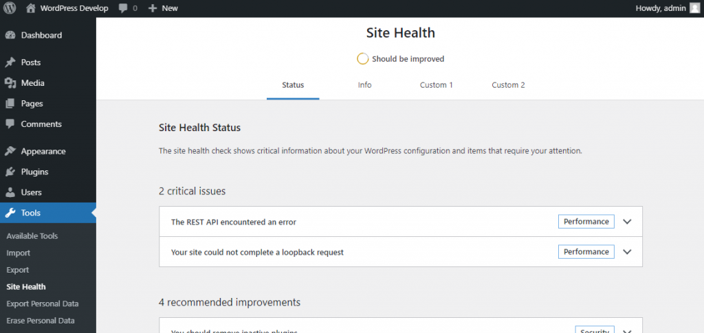 Site Health screen showing 4 navigation items