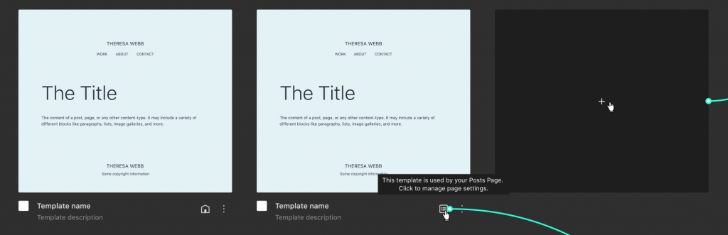Displays templates as small cards in a mosaic, connecting diagrams with the different flows.