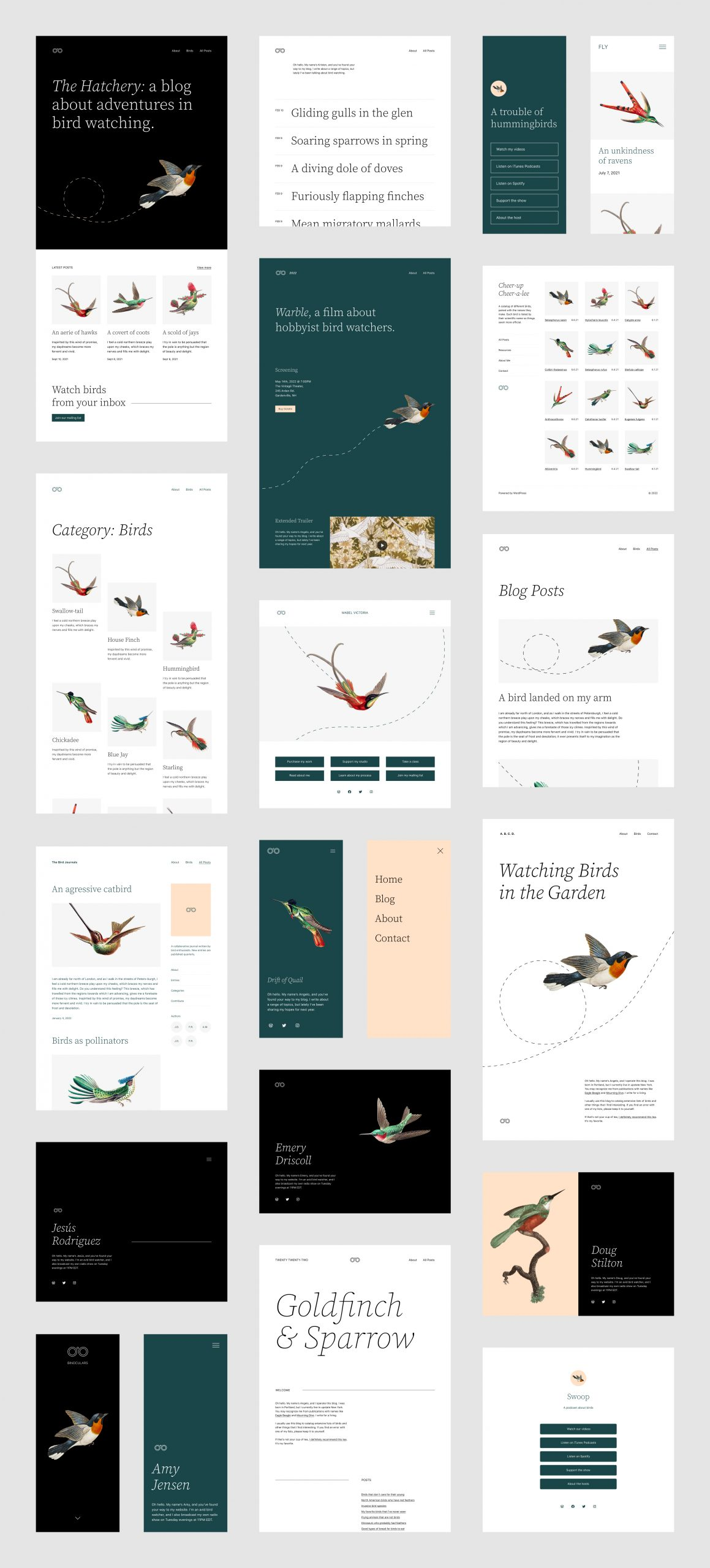 A variety of page layouts and block pattern mockups for the Twenty Twenty-Two theme.