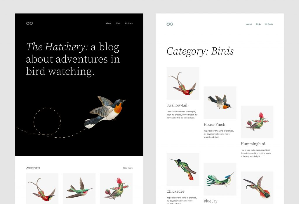 Homepage and archive page mockups for the Twenty Twenty-Two theme.