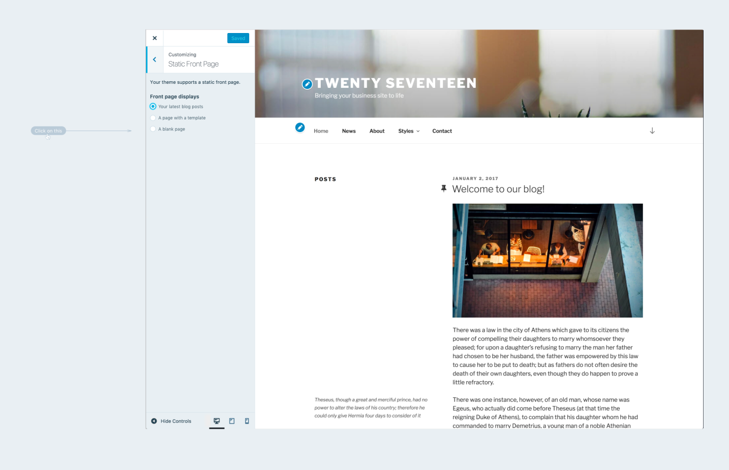 """A Better """"Page on Front"""" Experience: Previous Ideas – Make WordPress ..."""