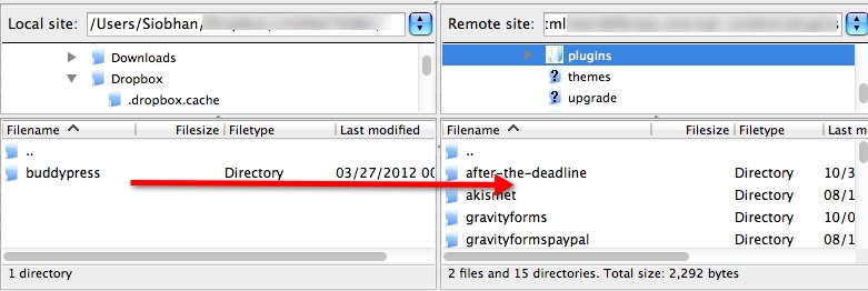 A screenshot of Filezilla. An arrow points from the files on the local server to the remote server