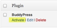 A screenshot of the activate plugin button. Activate is highlighted