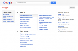 Blogger Help Overview Screen