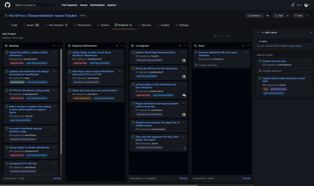 GitHub Project board for managing all GitHub issues from the repository.