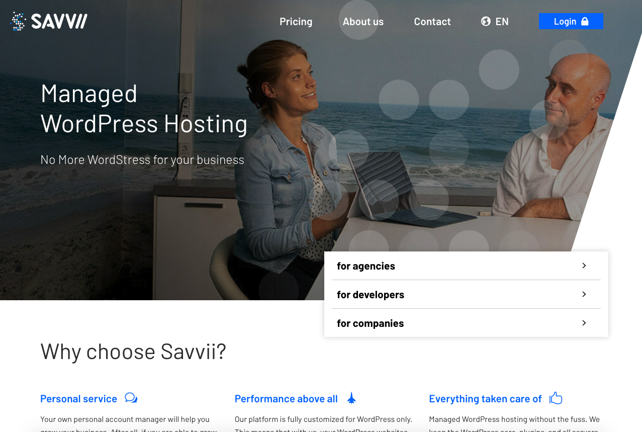 Radish Concepts was tasked with building a multilingual site to consolidate three sites into one for their client, Savvii Managed WordPress Hosting.