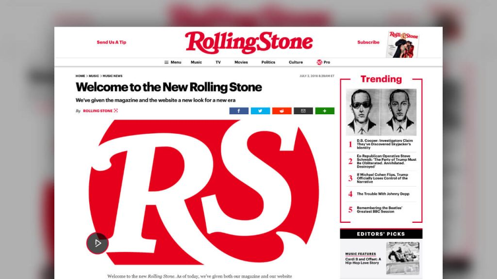 Rolling Stone - Welcome to the New Rolling Stone!