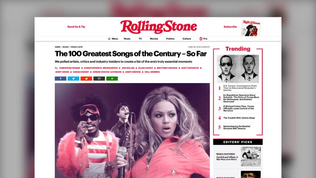 Rolling Stone: The 100 Greatest Songs of the Century - so far