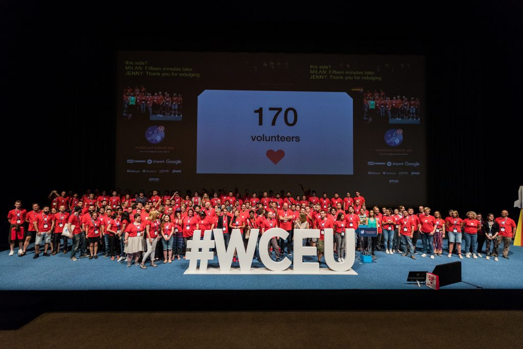 Volunteers on stage at WordCamp Europe