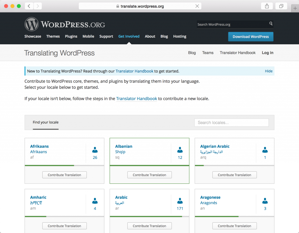 translate.wordpress.org languages view