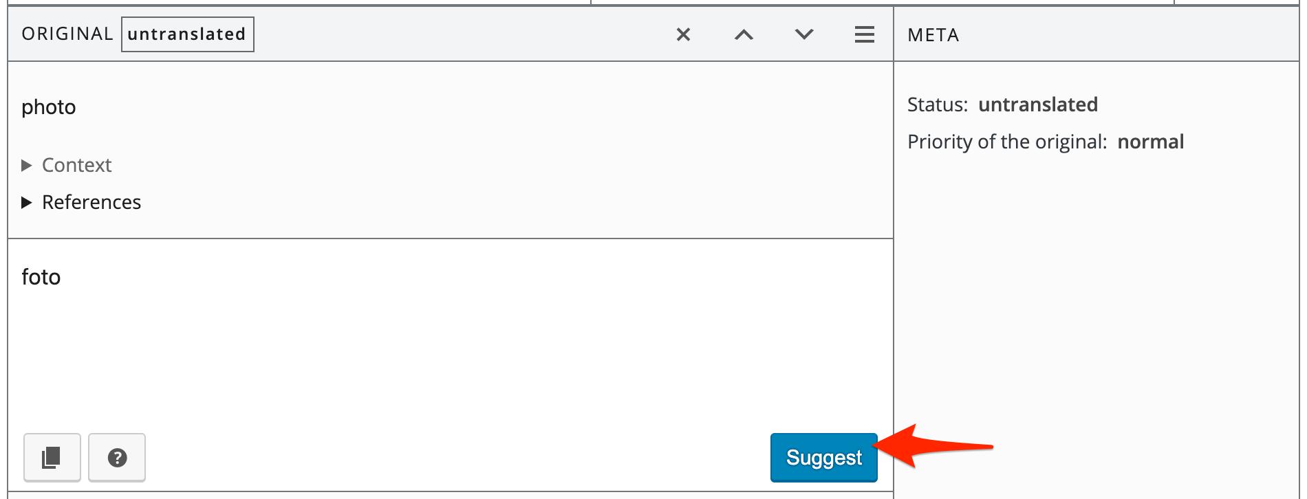 Translation suggetion screen