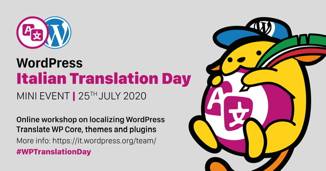 Banner and wapuu for Italian WPTranslationDay mini-event 25 July 2020