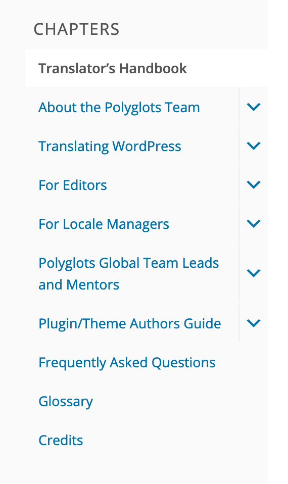 Photo of the sidebar menu in the Polyglots Handbook.