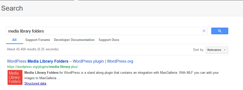 Use the WordPress.org search button to search for the plugin or theme.