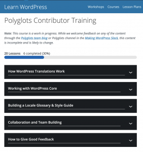 A screenshot of the Polyglots Training on learn.wordpress.org