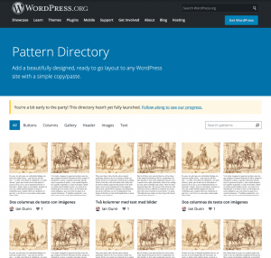 The Pattern Directory displays a range of block patterns available