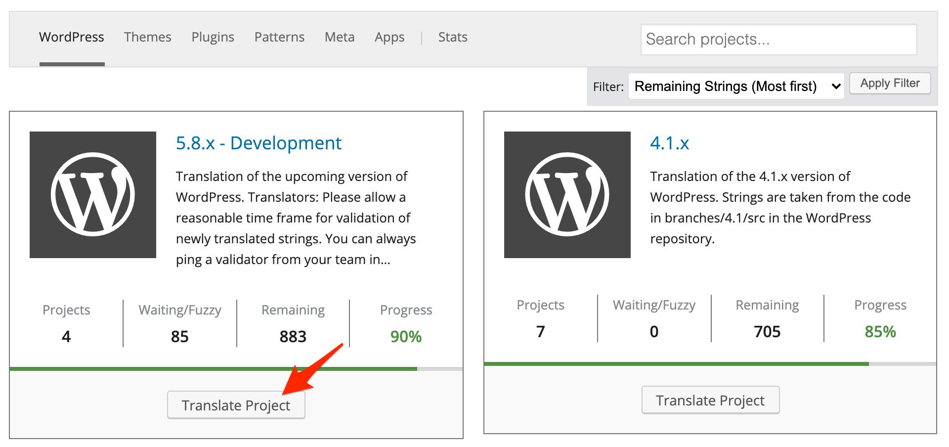 WordPress core translation project list screen