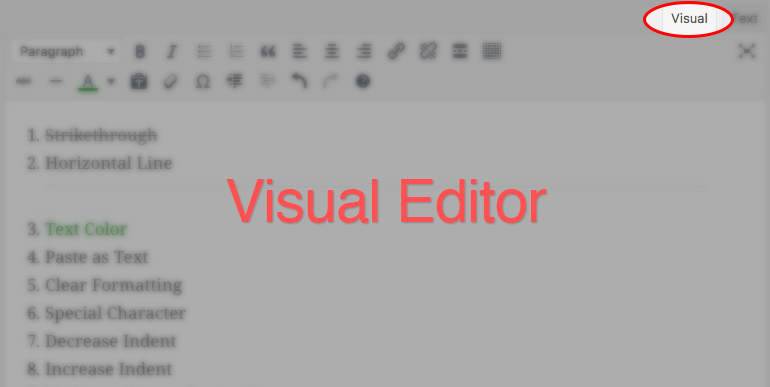 screenshot of TinyMCE Visual Editor