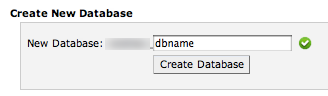 the create new database form