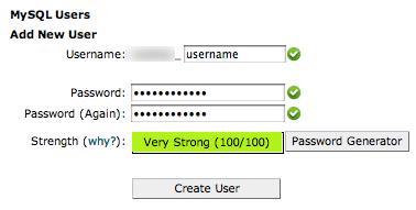 the create new mysql database form