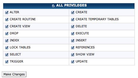 the MySQL privileges menu