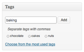 a screenshot of the tags metabox with the nuts, chocolate, baking and cakes tag applied