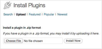a screenshot of the plugin uploads form