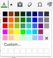 screenshot of TinyMCE Text color picker