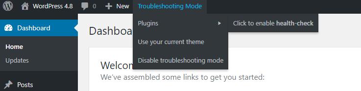 Troubleshooting Mode admin bar menu