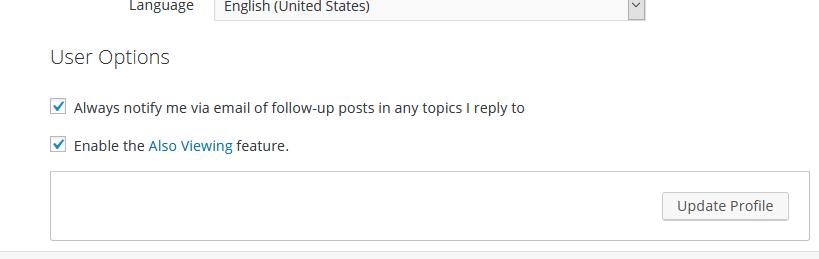 Screendump of User Otions settings in Forum Profile