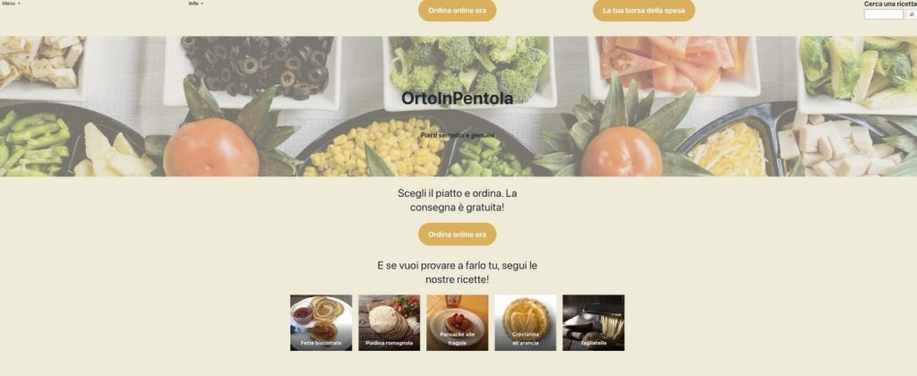 An image of a restaurant header with various types of food pictured and a prompt to order online.