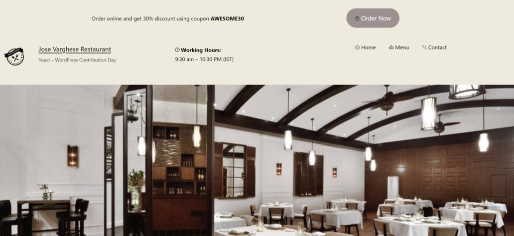 An image of a restaurant header with a coupon code, prompt to order online, and an image of the imagined dining room featured.