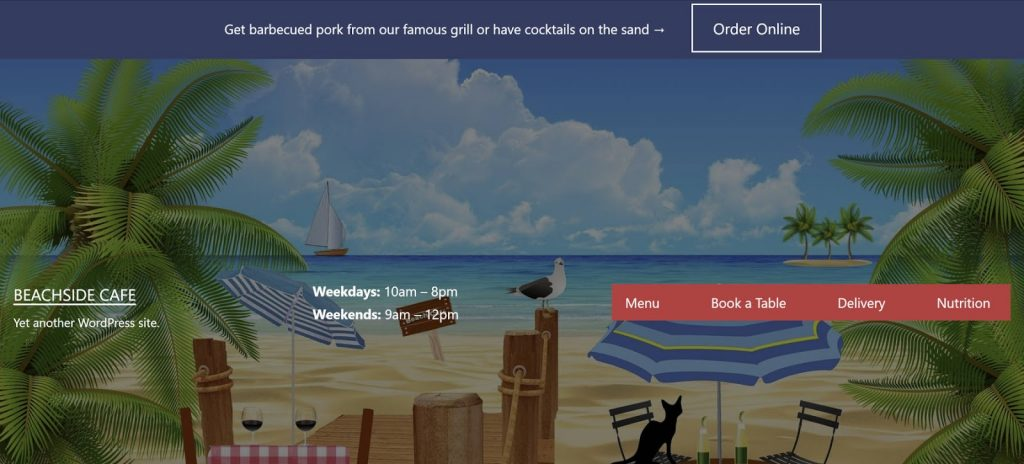 An image of a restaurant header with palm trees and a beach in the background alongside a menu and a prompt to order online.