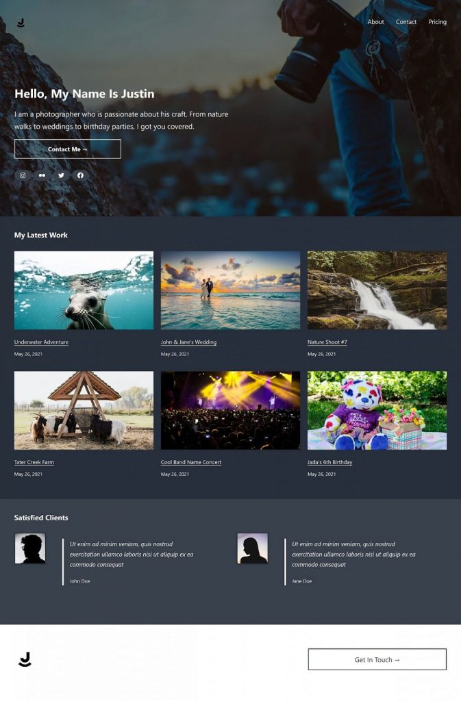 Image showing a portfolio page with a banner at the top, a list of the latest work in the middle, and customer reviews at the bottom.