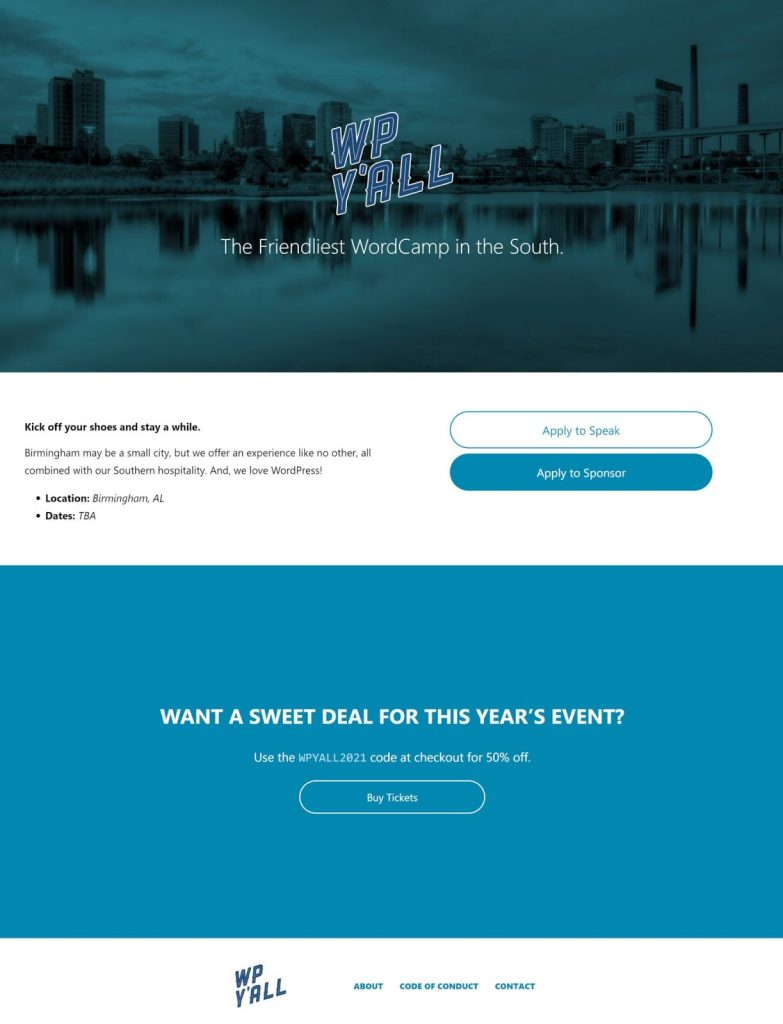 Image showing a pretend landing page for WP Y'ALL with a theme of blue colors.