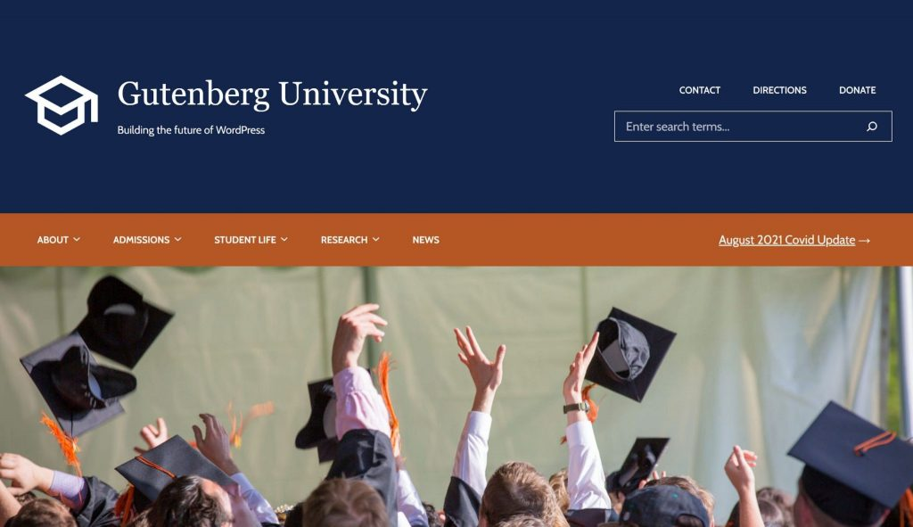 Image showing a pretend Gutenberg University with blue and orange colors and two menus of varying complexities.