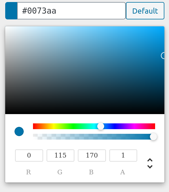 RGBA Colorpicker control screenshot