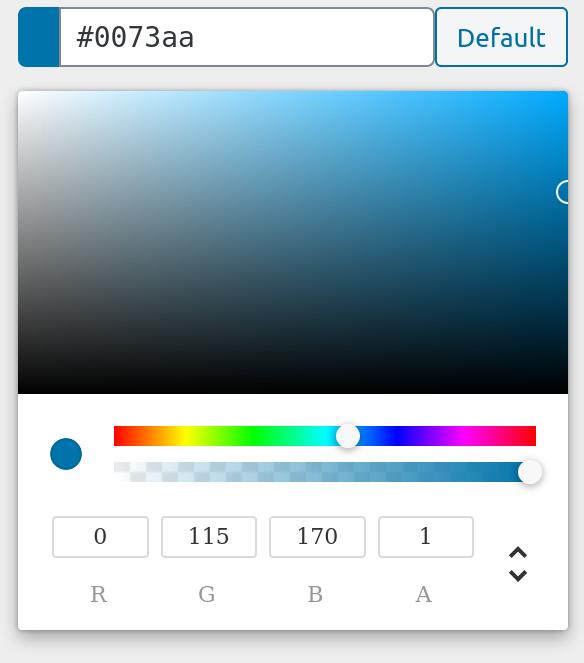 RGBA Colorpicker control screenshot