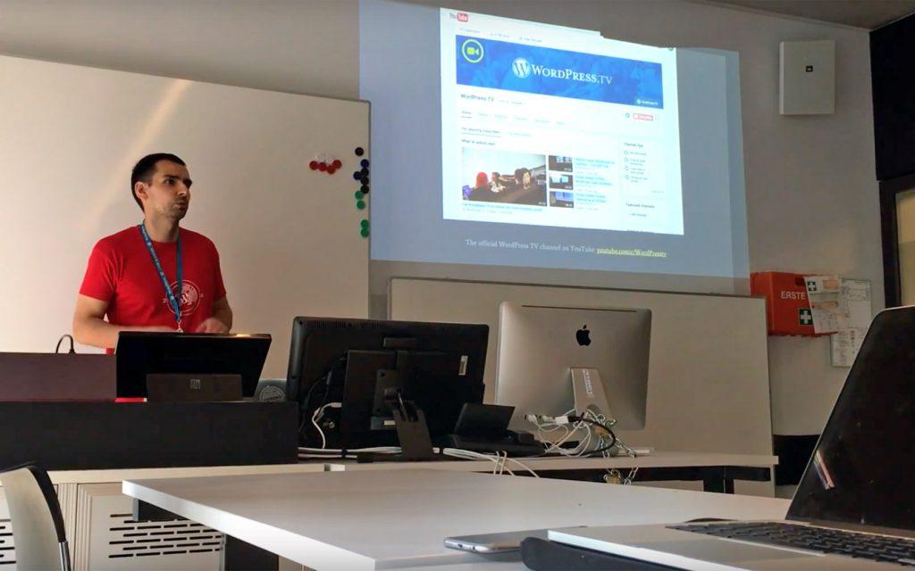 Olegs Belousovs presenting the WordPress TV team at WordCamp Europe 2016 Contributor Day
