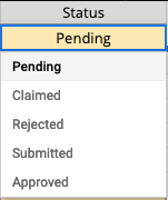 Screenshot of the possible statuses of videos: Pending, Claimed, Rejected, Submitted and Approved