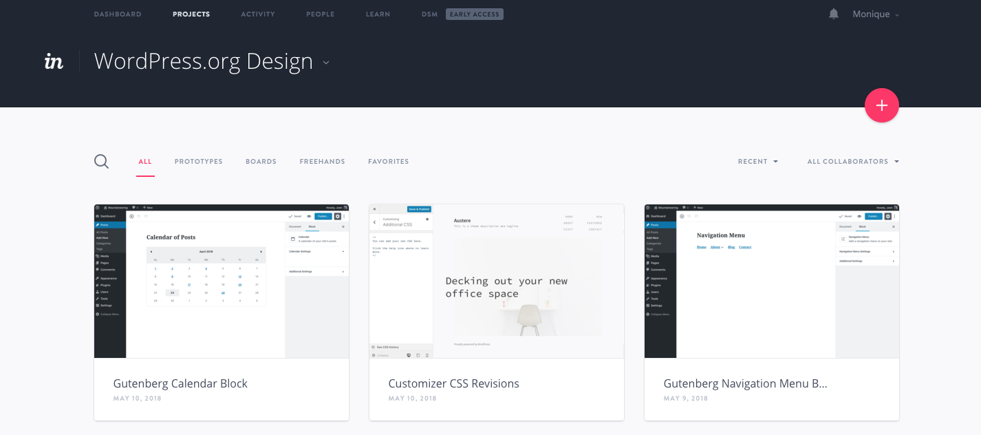 WordPress design team on Invision