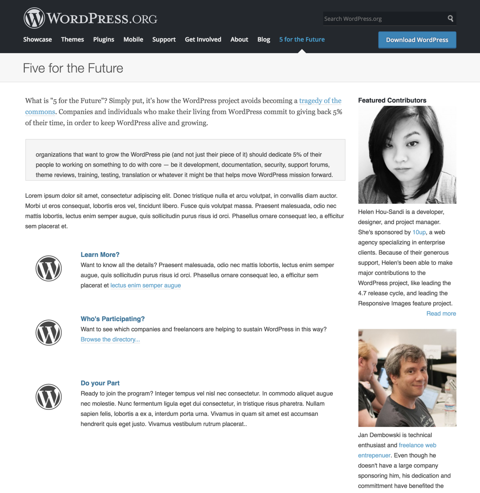 A mock-up of a Five for the Future page with a WordPress.org header, a short description of the program, and some lorem ipsum, and Featured Contributor case studies (Helen Hou-Sandí and Jan Dembowski) on the right side bar.